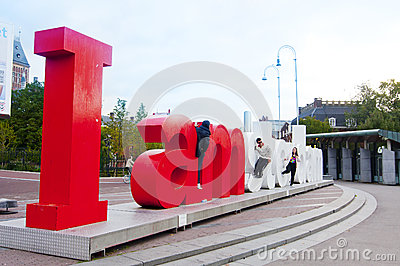 IAMSTERDAM letters in front of the Rijksmuseum in Amsterdam Editorial Stock Photo