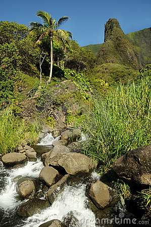 Iao Needle from downstream, Maui Hawaii