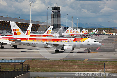 Iberia Airbus A320 in Madrid Editorial Image