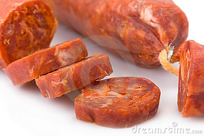 Iberian chorizo isolated on white