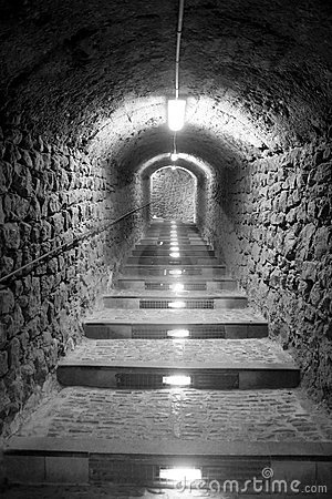 Ibiza island tunnel way up to the castle