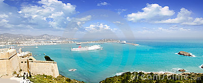 Ibiza panoramic view from castle Balearic islands
