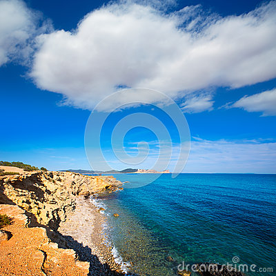 Ibiza Sa Caleta beach in south San Jose at Balearic
