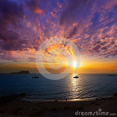 Ibiza sunset from Cala Conta Comte in San Jose