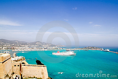 Ibiza view from castle ferry boat Balearic islands