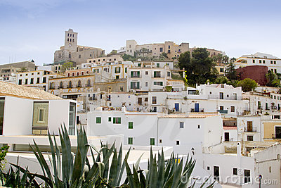 Ibiza white balearic island village downtown