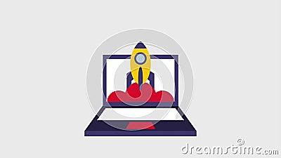 Icônes de vol de Rocket banque de vidéos