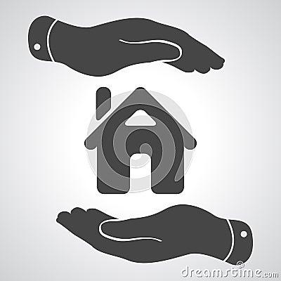 ic ne de soin de mains maison protectrice illustration stock image 51003534. Black Bedroom Furniture Sets. Home Design Ideas