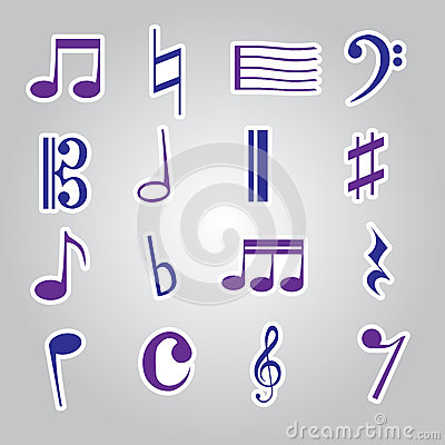 Icône eps10 réglé d autocollants de note de musique