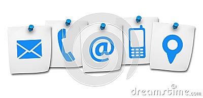 Icônes de contactez-nous de site Web sur le post-it