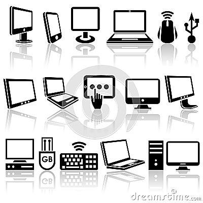 Icônes de vecteur d ordinateur réglées. ENV 10.