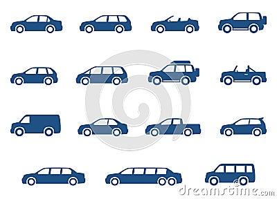 Icônes de voitures réglées