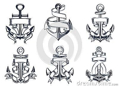 Ic nes orient es marines d 39 ancre de bateaux avec des rubans illustration de vecteur image - Dessin ancre bateau ...