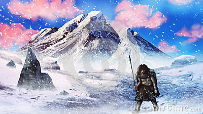 Ice Age Caveman http://www.dreamstime.com/stock-photography-ice-age-neanderthal-hunter-snow-storm-digital-painting-image29314432