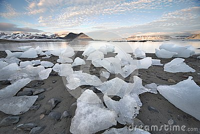 Ice on the Arctic beach - Spitsbergen, Svalbard