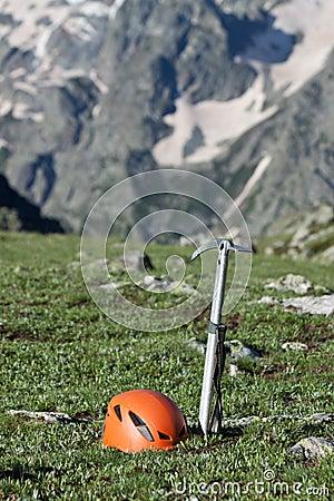 Free Ice-axe And Helmet. Stock Image - 15735041
