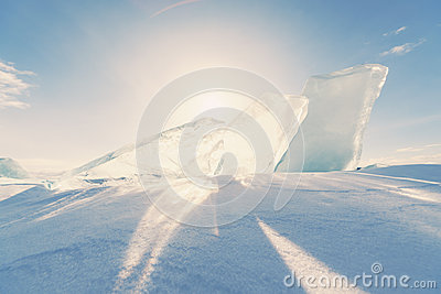 Ice of Baikal lake in Siberia