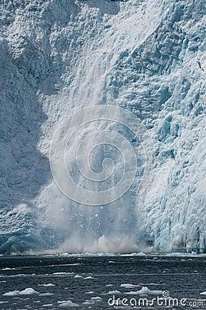 Ice calving into ocean