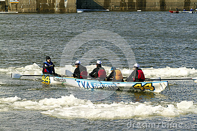 Ice canoe challenge Bota Bota Montreal Editorial Stock Image