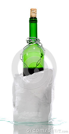 Ice with captured bottle of wine