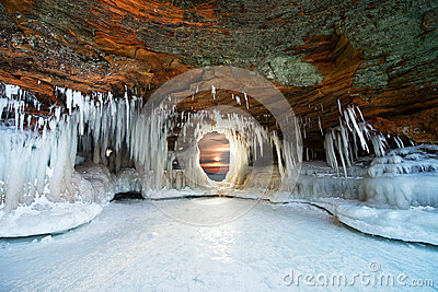 Ice Caves at Apostle Islands, Winter Sunset