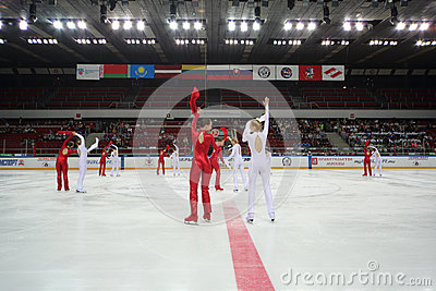 Ice choreography on closing ceremony of the championship Editorial Stock Image
