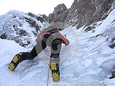 Ice climbing girl