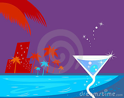 Ice cocktail, night water pool and palm trees