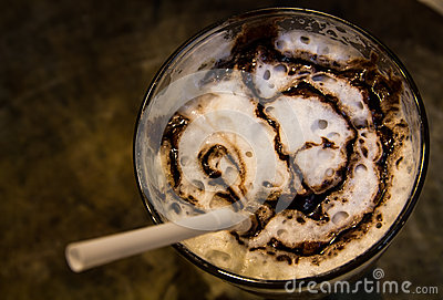 Ice coffee with caramel