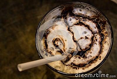 Ice coffee with caramel