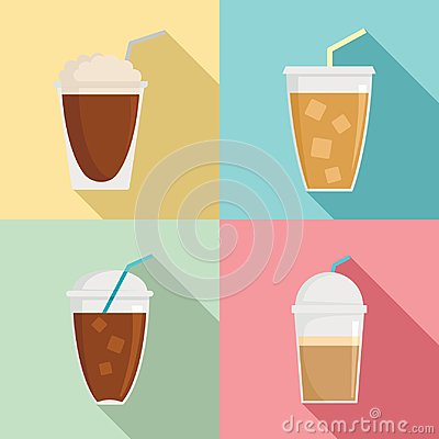 Free Ice Coffee Cream Cold Cup Icons Set, Flat Style Stock Photos - 123791793