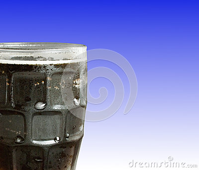 Ice Cold Cola over blue background