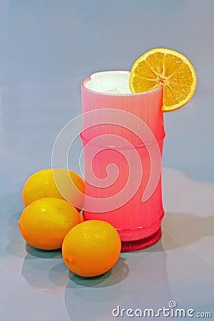 Ice cold glass of lemonade