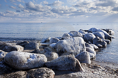 Ice covered bulkhead at baltic sea