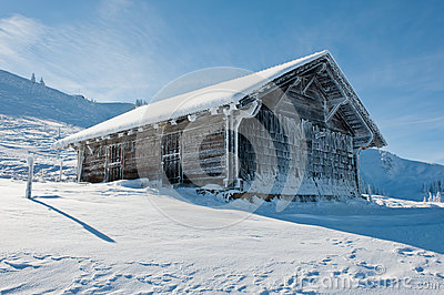 Ice covered hut