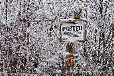 Ice covered posted sign