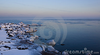 Ice Covered Stone on Superior Shore