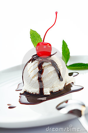 Ice cream ball topped with chocolate
