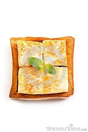Ice cream and bread isolate