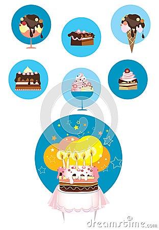 Ice cream and cake icons