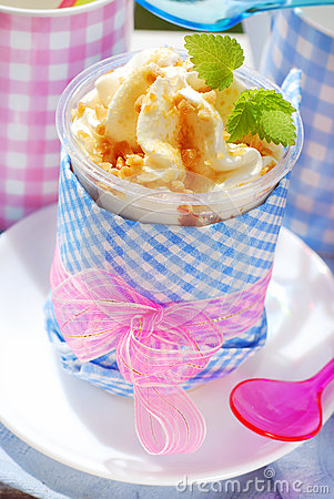Ice cream with caramel and nuts