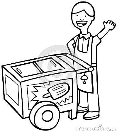 Ice Cream Cart - Black And White Stock Photos - Image: 9382943
