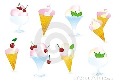 Ice cream with cherry and mint