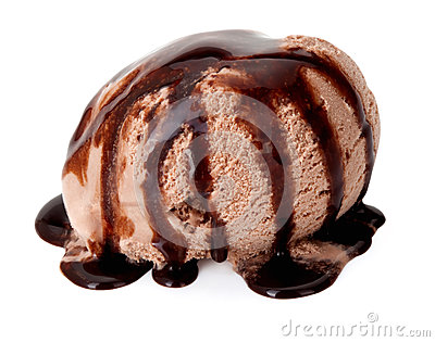 Ice cream with chocolate sauce.