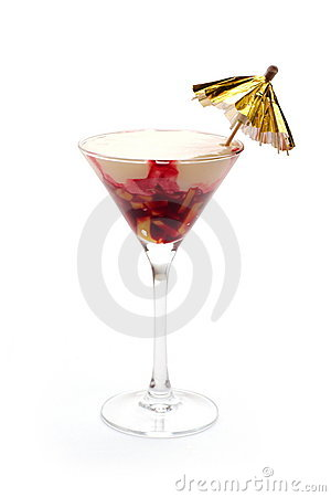 Ice-cream cocktail with cherry jam