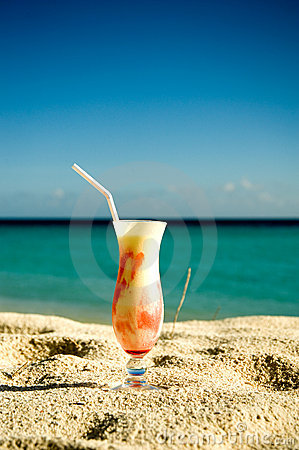 Ice cream cocktail on the sand