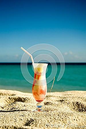 Ice cream cocktail on the sand