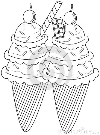 Ice Cream Bowl Coloring Page