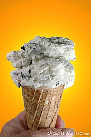 Ice cream cone on orange
