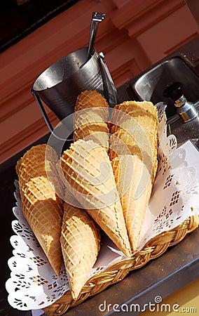 Ice cream cones on a cart
